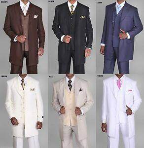 Men's Zoot suit,3 piece With Matching Vest Brown White Black 38R~56L 35'' Length