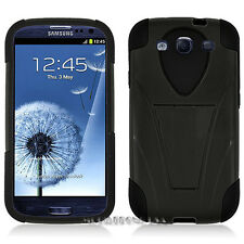 DOUBLE LAYER HYBRID SILICONE HARD CASE COVER + KICKSTAND SAMSUNG GALAXY S3 I9300