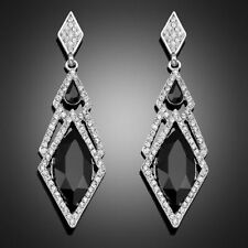 Silver Black Crystal Drop Earrings Art Deco 1920s Style Long Drop Party  sparkle