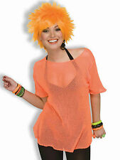 Woman's Rocker Neon Orange Mesh Costume Top 80's Punk Style