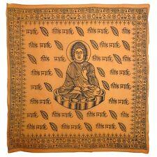 Large Buddha Saffron Wall Hanging Scarf 100% Cotton Hindi Meditation OM AUM