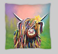Mezcla de lino galeses versión Highland Vaca Doble Cara Cushion Covers 18X18