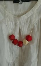funky Hand Made Geometric Wooden statement Necklace Adjustable - red