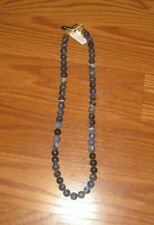 NWT BLACKJACK Sodalite Stone Stainless Steel Beaded Necklace Lobster Claw NEW