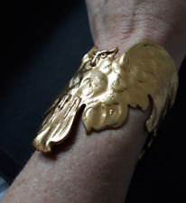 Superbe bracelet manchette vintage couture métal doré zoomorphe hibou