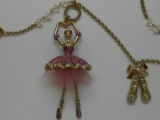 Betsey Johnson Pink Ballerina Pendant & Ballet Slippers Long Gold Tone Necklace