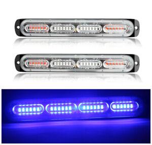 2X Blue 24 LED Car Truck Emergency Beacon Warning Hazard Flash Strobe Light Bar