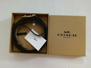 Coach Small Pet Leash In Signature Cross Grain Leather Khaki/Gold. 100%Authentic