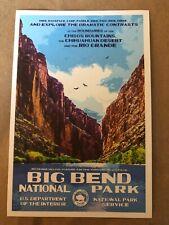 Big Bend National Park Texas  WPA Style Art Postcard New