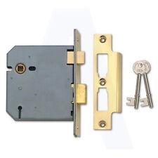 Unione 2277 3 LEVA Mortice PORTA sashlock 50mm Lucidato L in ottone con chiave di dissentire