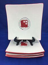 "Dansk Hand Painted Orbit 8"" Square Salad Plates Black Lines & Red Dots Set of 4"