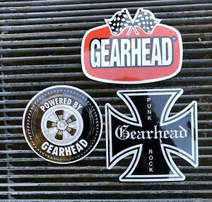 Gearhead Brand Set Of 3 Stickers Decal Hot Rods Garage Punk Rock Checkered Flags