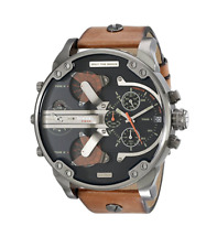 New Diesel Mr Daddy 2.0 Gunmetal Brown Leather 4 Time Zone Men's Watch DZ7332