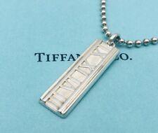 "Tiffany Necklace Atlas Roman Numerals Bar Ball Chain Sterling Silver 20"" O15"