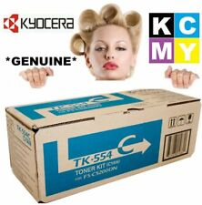 Kyocera Genuine/Original TK-554C CYAN/BLUE Printer Toner Cartridge TK554C 554-C