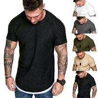 Fashion Men's Summer Pleats Slim Fit Raglan Short Sleeve Pattern Top Blouse DZ
