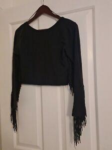 Zara Women's Black Top Fringe Effect Size L