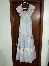 70s Gunne Sax By Jessica Vintage Dress Off Shoulder sky blue Lace long vtg size9