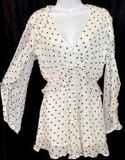 29219a0e7f Zimmerman long sleeve lace romper White Black Dot Silk size 0