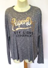 Superdry  'City Lights' Grey/Gold Long Sleeved Tee T-Shirt Top Size L