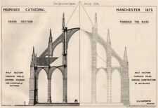Proposed Cathedral, Manchester 1875; R.H. Carpenter, Architect 1876 old print