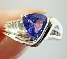Bright Purple Trillion Tanzanite Diamond 14k white gold ring/band