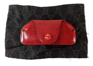 GUCCI RED LIZARD EYEGLASSES CASE ITALY