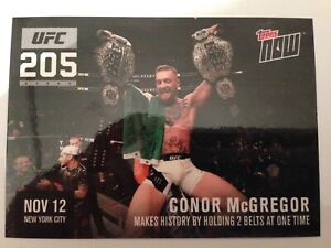 """2016 Topps UFC 205 CONOR McGREGOR """"Topps NOW"""" HOLDING 2 BELTS!!! RARE CARD!"""