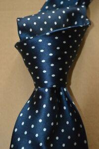 "$235 NWOT BRIONI Navy w/ White polka dots HANDMADE 3.75"" satin Silk tie ITALY XL"