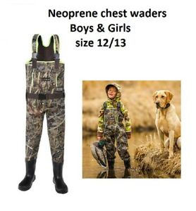 HISEA Chest Fishing Waders Sz 12/13 Camo  Boys & Girls Insulated Boot 5YTF []