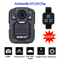 Ambarella  A7 Police Body Worn Camera 64G HD 1296P Night Vision w/Remote Control
