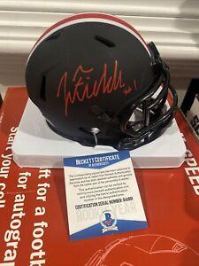 JUSTIN FIELDS OHIO STATE BUCKEYES SIGNED Mini helmet Eclipse Beckett