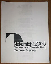Nakamichi ZX-9 Discrete Head Cassette Deck Owner's Manual (Copy)