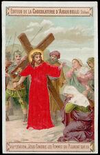 santino-holy card AIGUEBELLE-VIA CRUCIS XVIII STAZ.GESU' CONSOLA LE DONNE seta