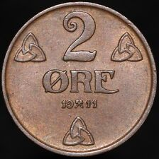 More details for 1911   norway haakon vii 2 ore   bronze   coins   km coins