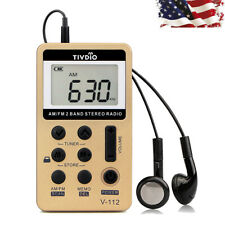 Retekess FM/AM 2 Band Radio Receiver Mini Pocket+Rechargeable Earphone Gift US
