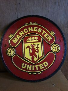 Manchester United  Large Cast Iron Sign 24cm wide , heavy !!!