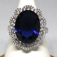 Large 8 Ct Blue Sapphire Ring Women Wedding Engagement Anniversary Jewelry Gift