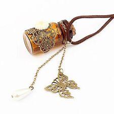 Flower Butterfly Chain Pendant Jewelry Necklace Wishing Bottle