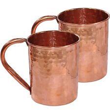 COPPER MOSCOW MULE MUGS HAMMERED SET OF 2 TEA BEER COFFEE JUICE MUG