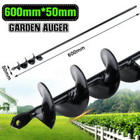 Garden Auger Earth Planter Drill Bit Post Hole Digger Universal 600mm×50mm