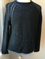 Men's Tommy Bahama Crew Neck Long Sleeve Pullover Sweater, Sz L Black& White F32