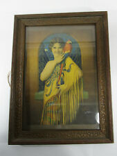 Antique Print sitting pretty art deco woman vintage parrot pinup yellow macaw
