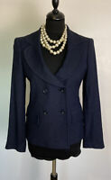 """BNWT TM LEWIN Navy Blue Double Breasted """"Pamela"""" Fitted Jacket, Size 8, RRP £298"""