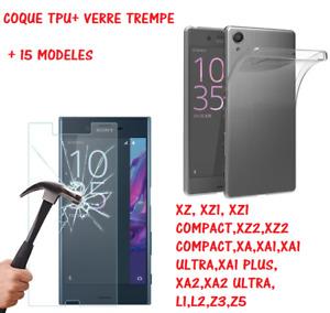 Coque TPU + Verre Trempé SONY XPERIA Z2/Z3/L1/L2/L3/XZ1/XA/XA1 PLUS/XA2 ULTRA/M4