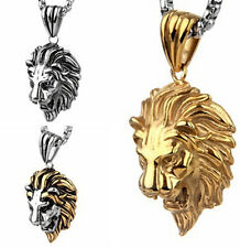 Large Biker Lion Head Pendant Stainelss steel Men's Gothic Necklace 24 inch