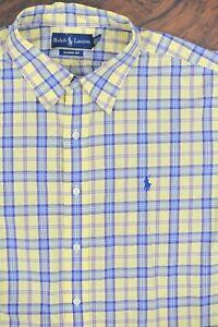 Polo Ralph Lauren SS Button Front Shirt Yellow Check Men's XXL