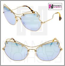 3d7077d1bc2 MIU MIU SCENIQUE Butterfly 56R Pale Gold Blue Mirrored Metal Sunglasses  MU56RS