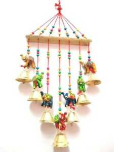 Indian Handmade Elephant Wind Chime Wall hanging Wooden Room Decor Garden Decor