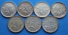 Lot de 5 Francs Semeuse Argent : 1960, 1962, 1964, 1965, 1966, 1968 & 1969
